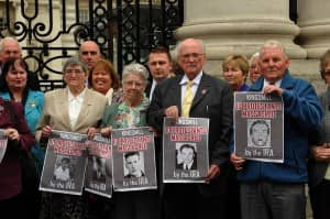 Relatives of the Kingsmills Massacre victims stand outside Government Buildings in Dublin prior to their meeting with Taoiseach, Enda Kenny on Thursday, September 13, 2012.               Picture: Conor Greenan