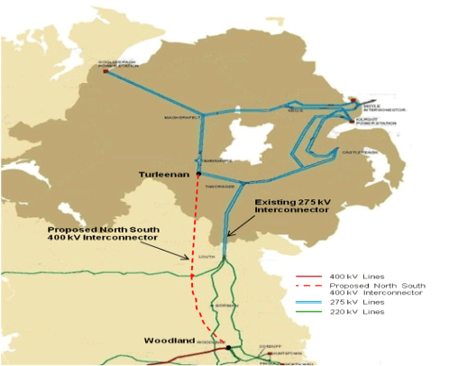 A map showing the proposed route of the controversial North/South Interconnector.