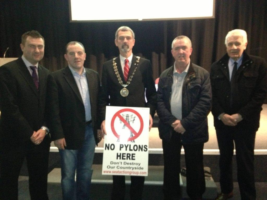 Sinn Féin Councillors Gerard Paul White, Noel Keelan, Sean Conlon, Mickey Gillespie and Jackie Crowe attend Interconnector public meeting