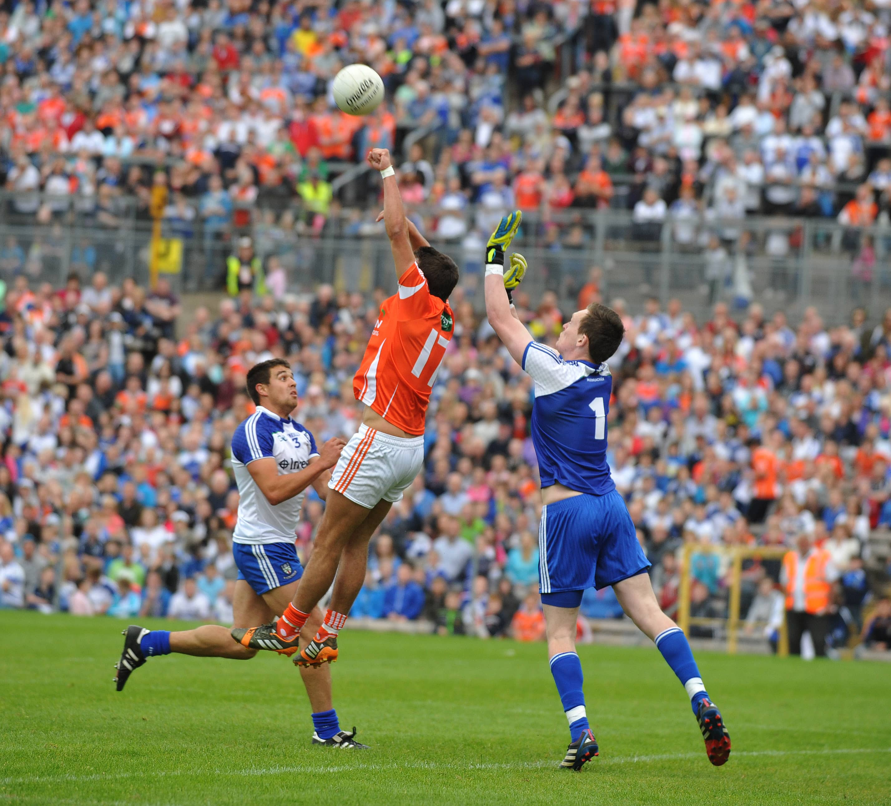 Armagh's Stefan Campbell came close with this flicked first half effort over the head of Monaghan 'keeper, Rory Beggan during their Ulster Senior Championship semi-final nailbiter at Clones on Saturday evening. ©ConorGreenanPhotography
