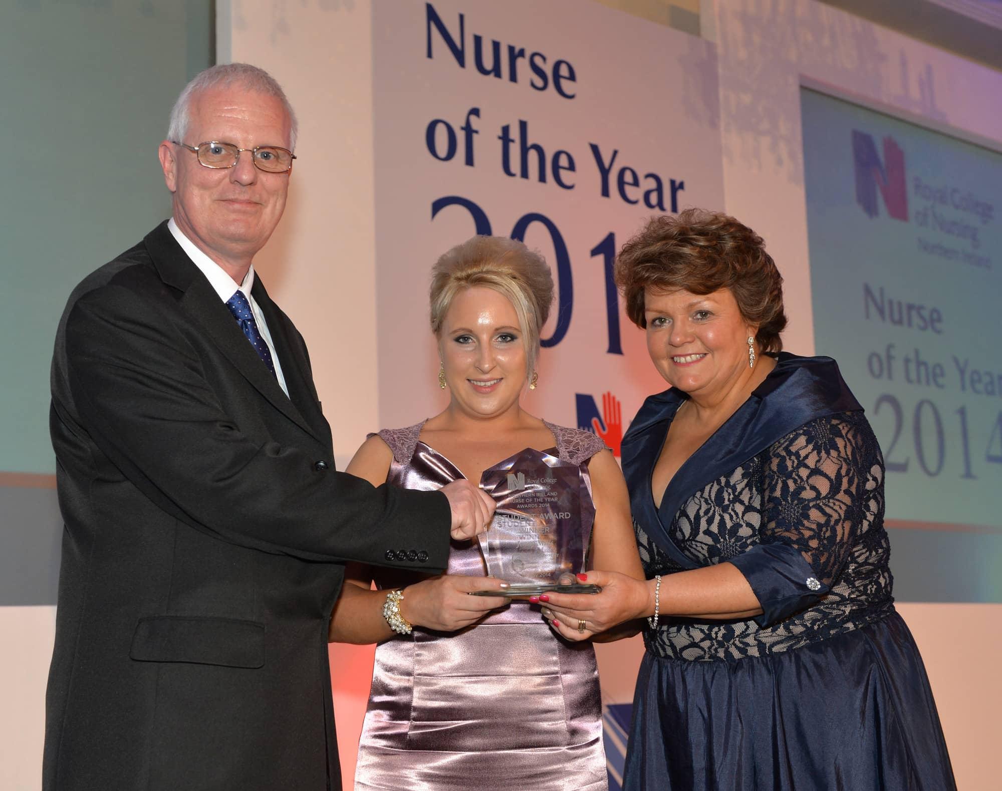 Sam Porter and Janice Smyth (R) with Student Nurse of the Year winner Jenny Mills