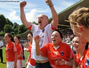 Armagh Ladies team manager, James Daly greets the final whistle of the TG4 Ulster Ladies Senior Championship Final with sheer delight as his Orchard charges denied Monaghan five consecutive titles, in a pulsating encounter at Clones on Sunday.  ©ConorGreenanPhotography