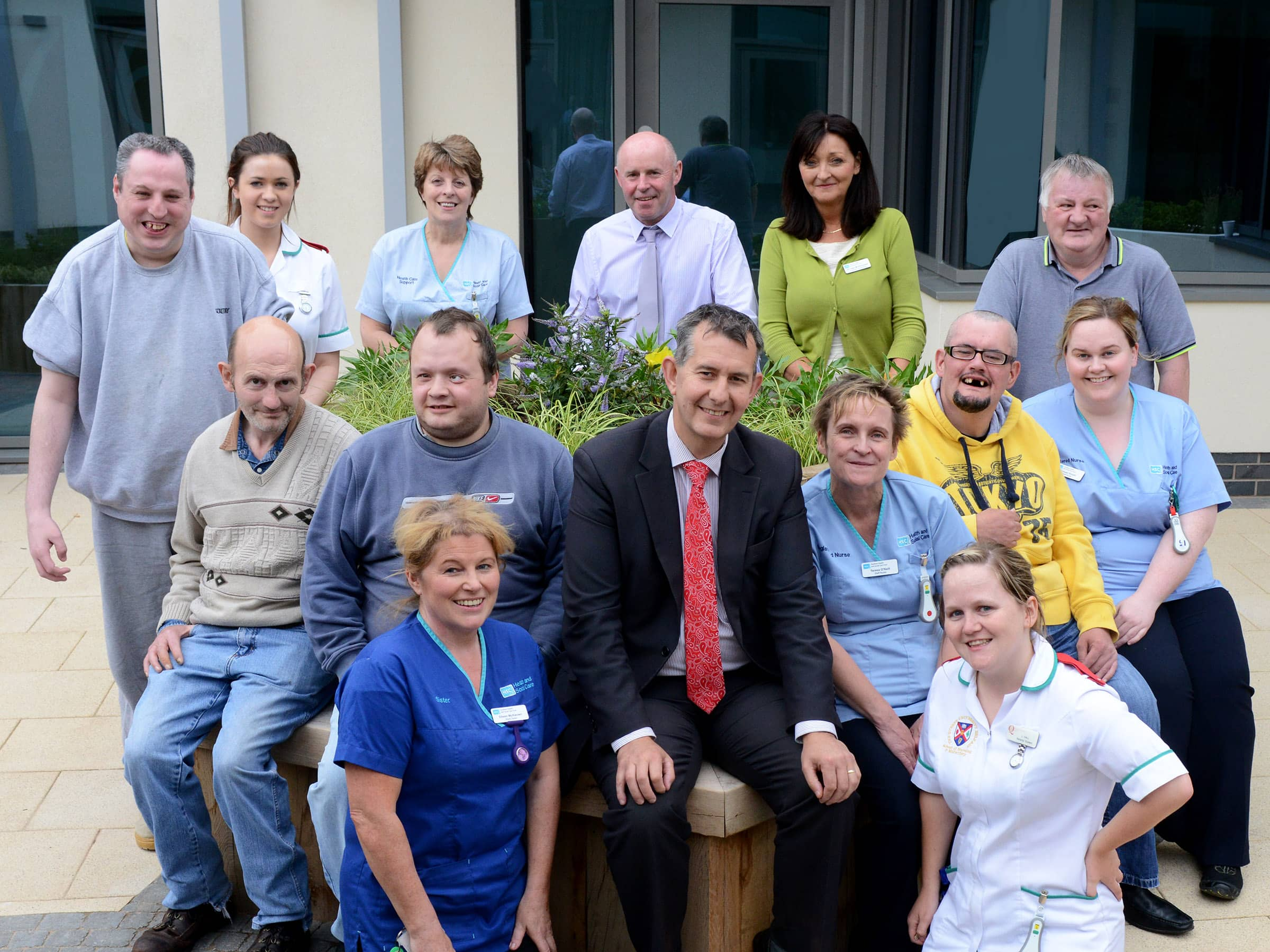 Health Minister Edwin Poots pictured with clients and staff during a visit to the new Dorsey Unit for the assessment of adults with a learning disability.