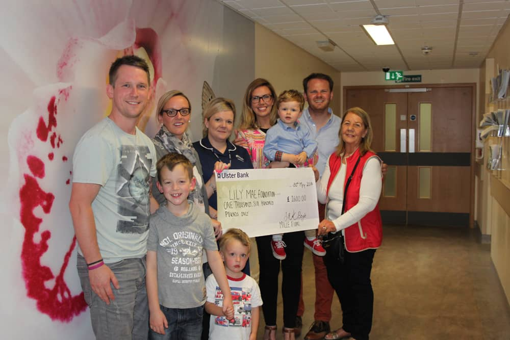 Pictured with Kerri Marie, John and Noah Boyle are Ryan and Amy Jackson founders of Lily Mae Foundation and their sons Alfie and Freddie, Clare Beesley Bereavement Midwife at the Heartlands and Kerri Marie's Nanny Marie.