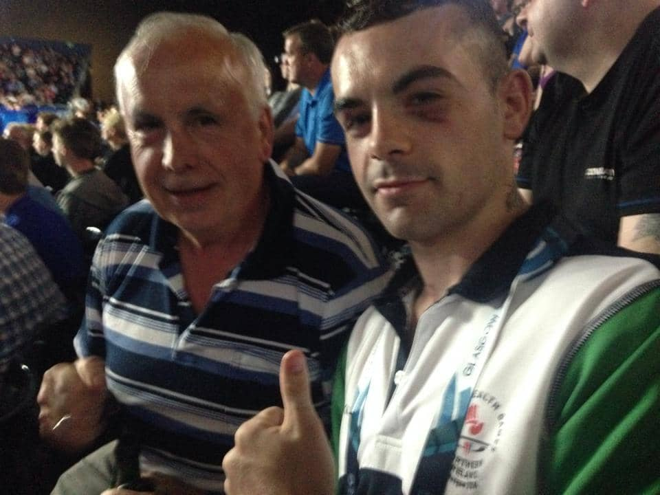 County Armagh boxer Sean Duffy with father Michael after victory in the last 16 at the Commonwealth Games