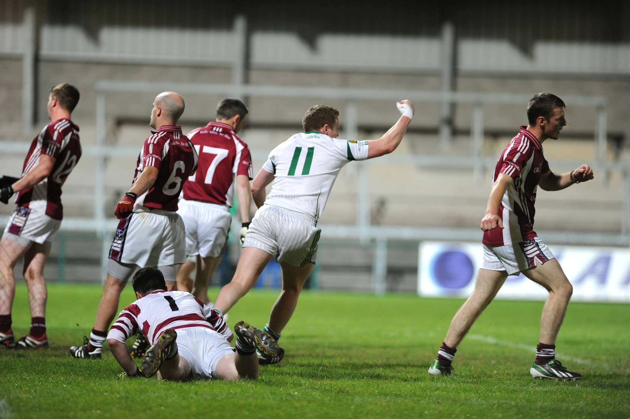 Jason O'Neill scores the all-important goal for Granemore in last night's Armagh Senior Football Championship against Ballymacnab. Photo: John Merry