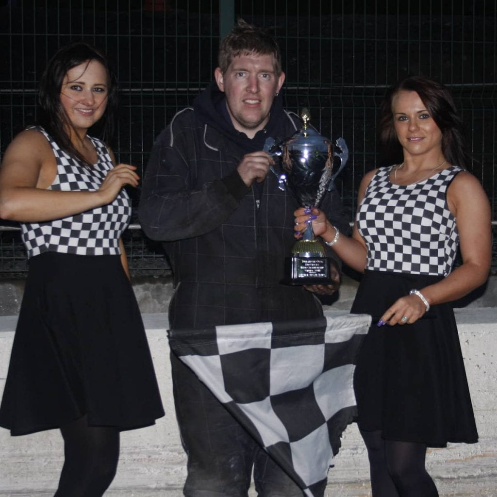 Dean Fleming being presented with the Trophy for winning the ProStocks Irish Championship at Tullyroan Oval on Sunday in the meeting sponsored by George Fegan Tyres