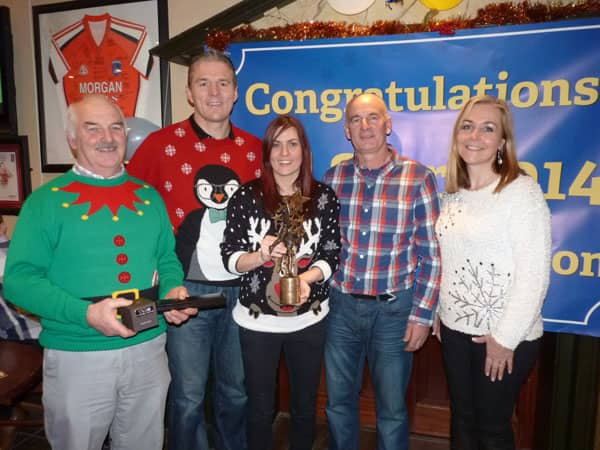 Silverbridge Chairman John Murphy makes a presentation to Mairead with her All Star Award. Also pictured: Jarlath Burns (Secretary) Noel Reel (Vice Chairman), Rosie Burns (PRO)