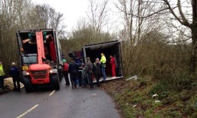 Lorry overturns in Darkley