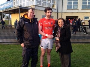 Armagh's Aaron Findon receieves the Man-of-the-Match award