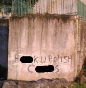 Racist graffiti scrawled across a wall in Newry