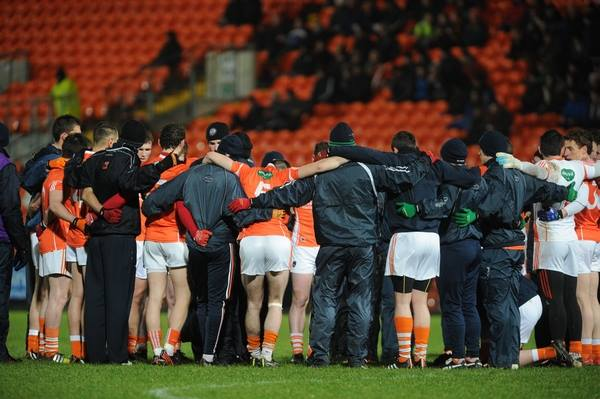 Armagh GAA players in a pre-match huddle. Photo by John Merry