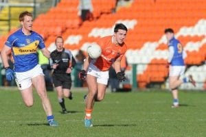 Armagh's Stefan Campbell on the attack. Photo: John Merry