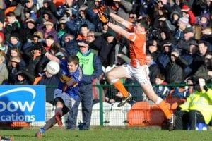 Armagh's Caolan Rafferty blocks a Tipperary attack. Photo: John Merry