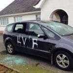 A family car smashed up and daubed in graffiti in Richhill