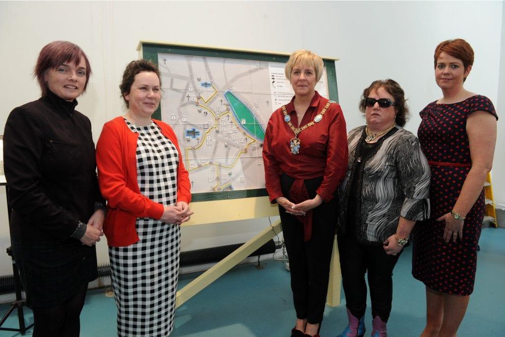 Artist, Sally Walmsley, Hazel Flannigan, Lord Mayor of Armagh Cllr. Cathy Rafferty, Lynette Norton, and Denise Lavery