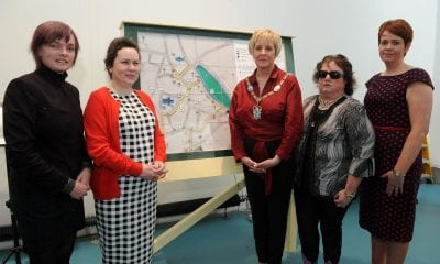 Artist, Sally Walmsley, Hazel Flannigan, Lord Mayor of Armagh Cllr. Cathy Rafferty, Lynette Norton, and Denise Lavery
