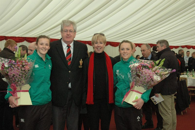 Armagh Rugby Club President (Raymond Donnelly) & Vice-President (Shirly-Ann Donaldson) with Irish Lady International Rugby Stars Nikki Caughey & Ashley Baxter.