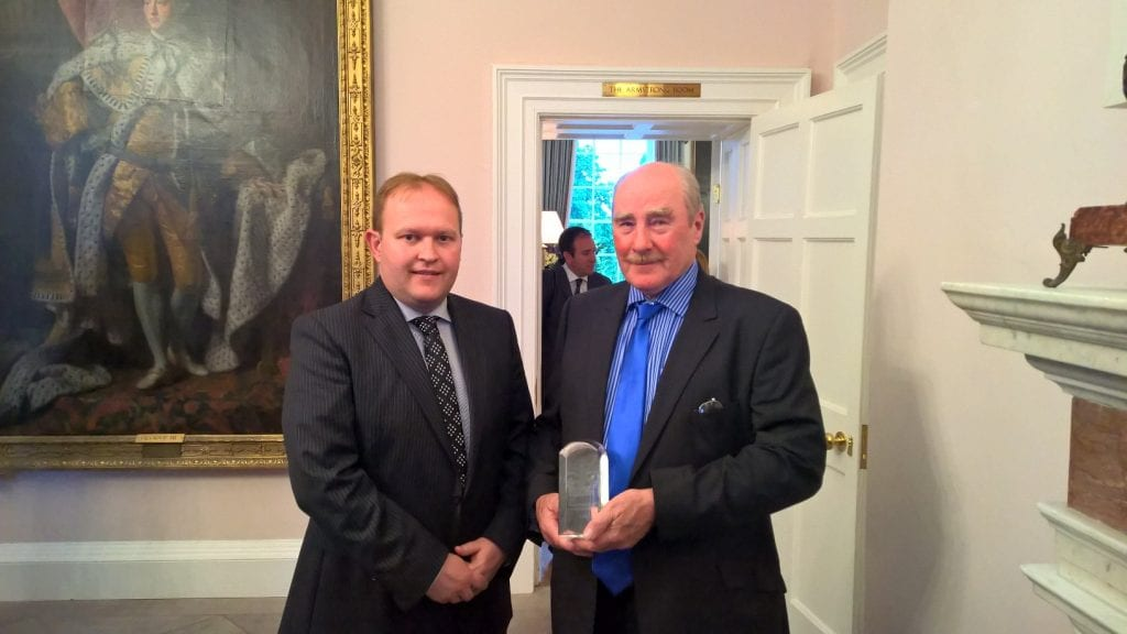 Cllr Gareth Wilson pictured with Award recipient Mervyn Dougan