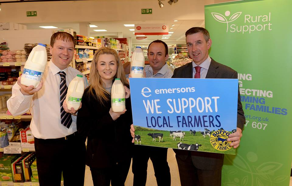 Gavin Emerson, owner of Emerson's Supermarket with Kerry Hughes and Jude McCann from Rural Support along with Ian Marshall, President of the Ulster Farmers' Union