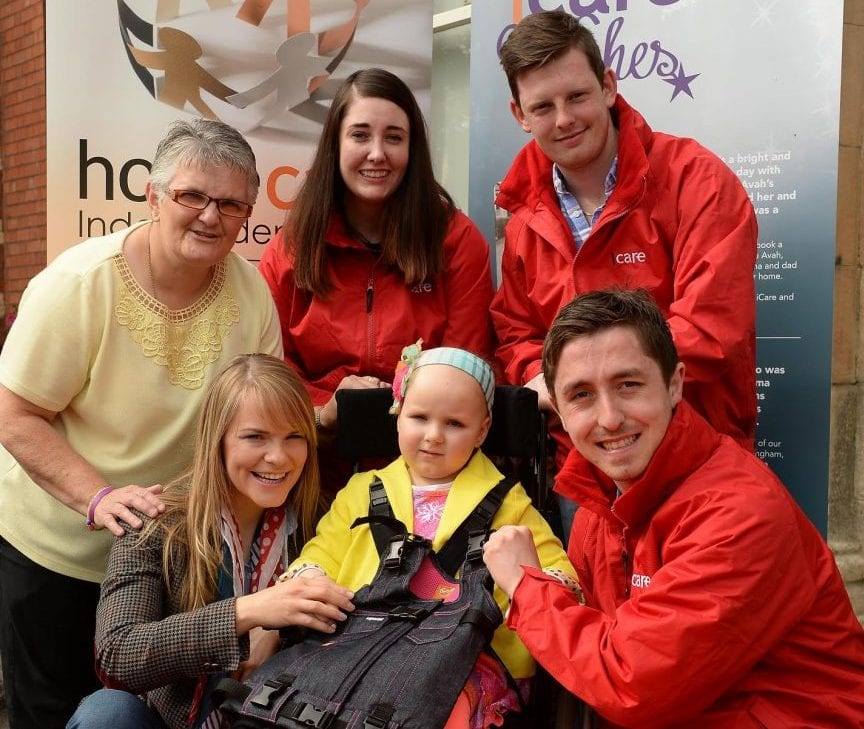 Front Row , Tracey Hughes, Eva Tomney ( Child), Michael McGuinness, Standing , Geraldine Toal, Fiona Gallery ,Aaron Grant., at the presentation of equipment by icare staff, Milford, Co Armagh.
