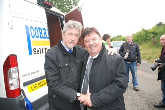 Mickey Brady with Des Less who survived the massacre