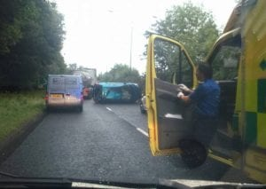 Scene of the crash in between Roundabouts 1 and 2 in Lurgan, county Armagh. Pic: BigCab Portadown