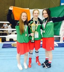 Amy Broadhurst, Shauna O'Callaghan and Orla Garvey after receiving their gold and silver medals at the European Women's Youth and Junior Championships in Hungary