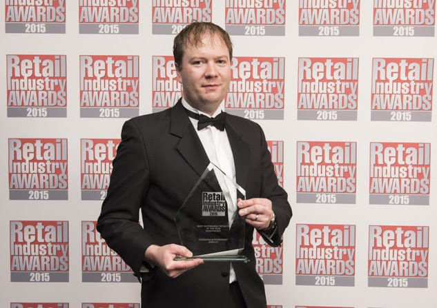 Gavin Emerson of Emersons Supermarket picking up the award in London