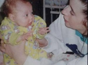 Jackie McGuigan with baby daughter Leanne in 1998