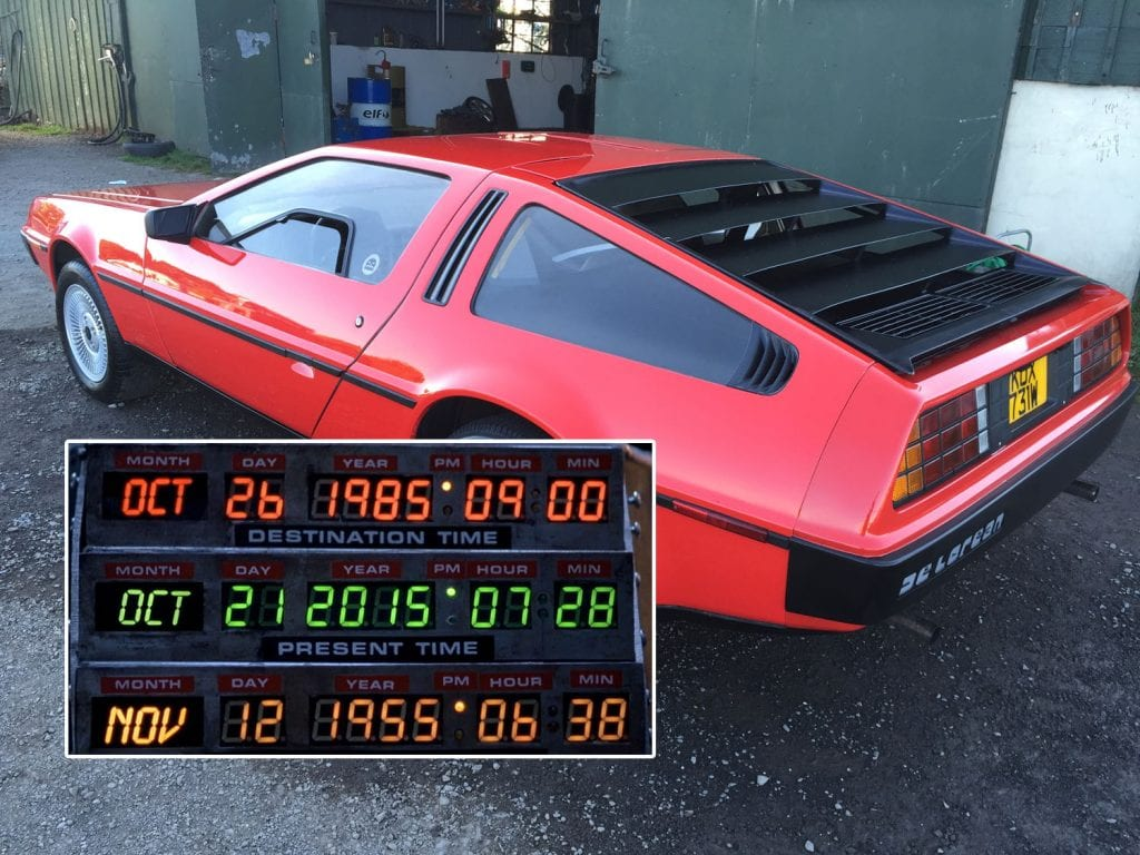The DeLorean on sale in Moira along with the actual timestamp from the movie