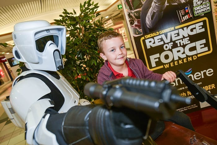 Pictured with a stormtrooper is 7 year old Lennon Dornan from Craigavon on a speeder bike ahead of the Revenge of the Force exhibation at Rushmere Shopping Centre this weekend