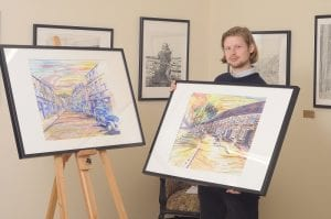 """Armagh born artist Christopher McKinney at his exhibition """"Times gone by"""""""