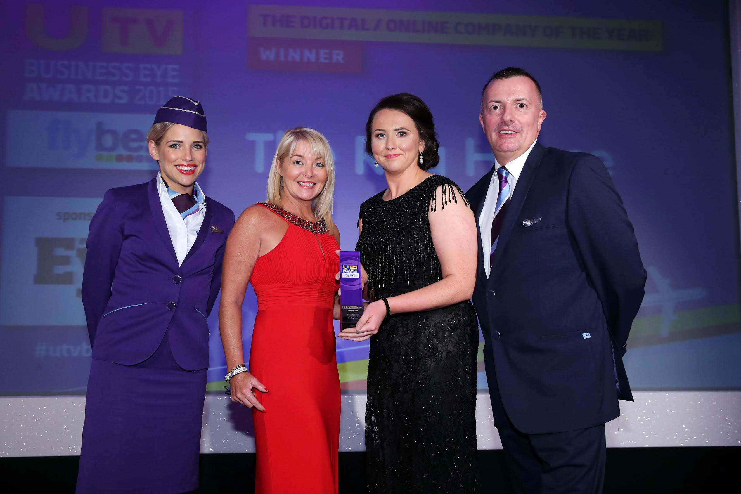 Clare Vallely accepts the award. UTV Business Eye Awards 2015 Best Digital/ Online Company of the Year Award