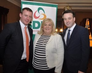 Justiin McNulty, left, and Karen McKevitt are congratulated on their selection as candidates in the forthcoming Assembly elections by SDLP Leader Colm Eastwood Newry Armagh SDLP select Karen McKevitt and Justin McNulty as candidates in the forthcoming Assembly Elections. Newry Armagh SDLP Selection Convention  Canal Court Hotel Newry Co.Armagh 6 December 2015 CREDIT: LiamMcArdle.com