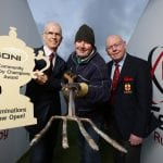 Pictured at the launch is (L-R) Robin McCormick, General Manager, SONI; David Napier, volunteer Groundsman, Ballynahinch RFC; and Bobby Stewart President of IRFU Ulster Branch.