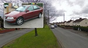 The Park View area of Newry and (inset) a maroon Volvo, similar to that of the suspect car