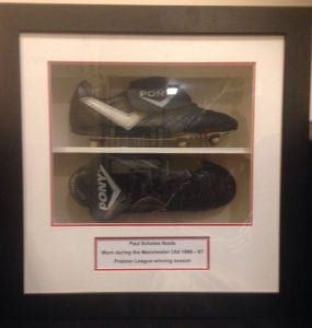 A pair of boots worn by Paul Scholes will be up for auction