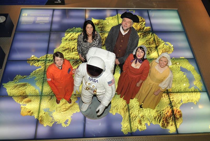 Out of this world. l to r...Martina Glass, (Armagh Planetarium) Cllr Sharon Haughey-Grimley (Armagh City Banbridge and Craigavon council) Ivan Little, Siofra O'Reilly (Armagh Ambassador programme organiser) and Lynda Willis (Armagh Ambassador programme organiser)