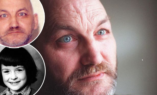 Robert Black and (inset) one of his victims, Jennifer Cardy - and his official police mugshot