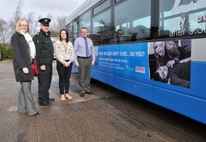 L-R Alison Clenaghan - PCSP Manager, Sgt Billy Stewart- PSNI, Aisling Gillespie -PCSP Project Co-ordinator and Chair of the Policing and Community Safety Partnership, Alderman Robert Smith