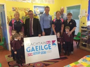 SDLP Assembly Member Dominic Bradley MLA and local representative Justin McNulty have visited the Bunscoil na mBráithre Críostaí, Ard Mhacha / Christian Brothers Primary School Armagh to mark Seachtain na Gaeilge 2016.