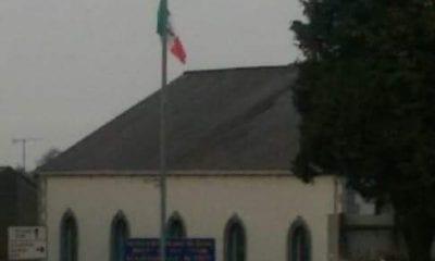 Tricolour erected outside Presbyterian Church in Keady