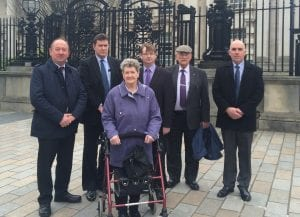Beatrice Worton with campaigners, including DUP's William Irwin