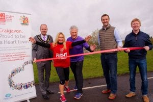 Lord Mayor of Armagh, Darryn Causby joins Cathy Devlin, Sheelin McKeagney, Chair Craigavon Heart Town; Padraic McKeever, House of Sport and Daryn Greene, CouncilSports Development Officer at The Launch of Craigavon 10K
