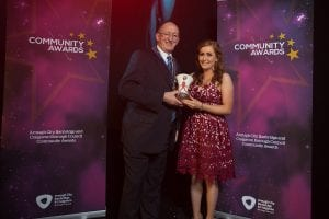 Grainne O'Neill presented with her Volunteer of the Year Award by cllr. Brendan Curran