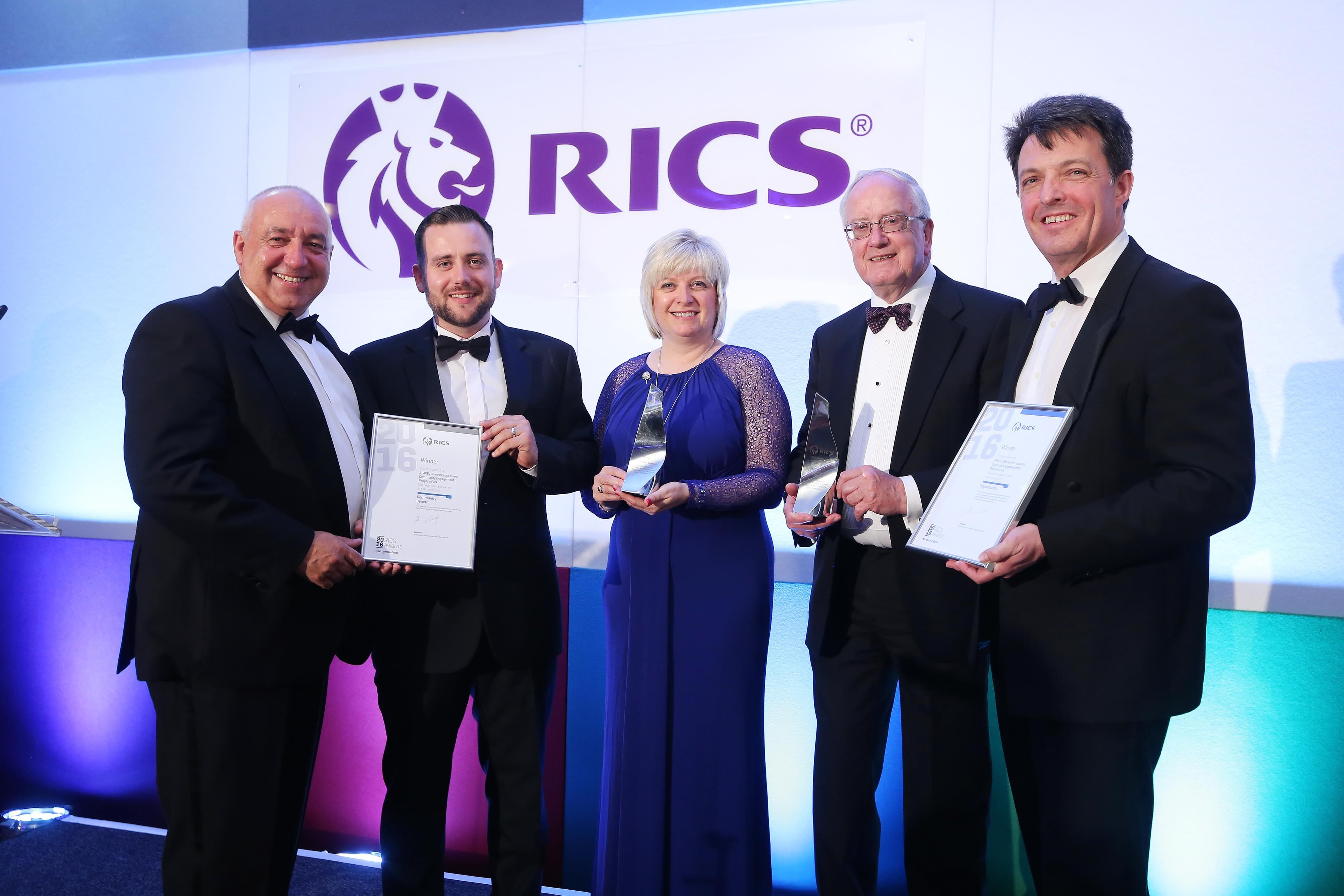 Pictured at the RICS Awards are Clifford Forbes, Community Development Officer, Michael Ruddy, Parks Development Officer, Diane Clarke, Acting Head of Community Development (Craigavon), Alderman Kenneth Twyble, Chair of the SPACE Steering Committee and Andrew Haley, Director of The Paul Hogarth Company