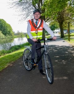 Lord Mayor of Armagh, Banbridge and Craigavon, Cllr Darryn Causby Launch of Northern Ireland Festival of Cycling Pleasure Gardens Portadown 13/05/2016 CREDIT: LiamMcArdle.com