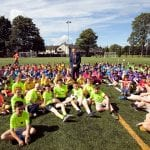 Deputy Lord Mayor of Armagh City Banbridge and Craigavon Borough Council, Councillor Paul Greenfield with some young people from the 21 muga teams who took part in the community games