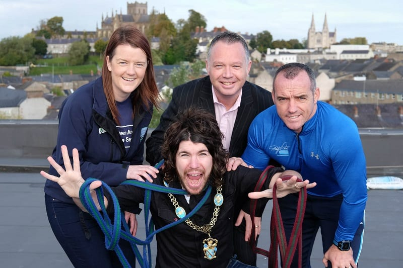 It looks like Garath Keating, Lord Mayor, Armagh City, Banbridge & Craigavon Borough Council has just been nominated as the first one over the edge on the Southern Area Hospice Christmas Abseil. Pictured giving moral support are from left: Anne MacOscar, Southern Area Hospice; Barry Donaghy, General Manager, Armagh City Hotel and Tommy Stevenson, Andy Ward Health and Fitness Studio. The Abseil takes place at the Armagh City Hotel on Sunday 4th December.